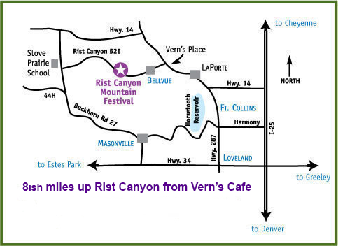 Map to Rist Canyon Mountain Festival